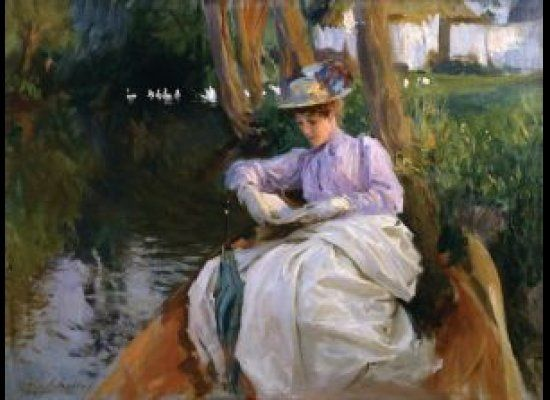 ARTIST: John Singer Sargent (1856 -1925) TITLE: Femme en barque DATE: c. 1885-88 MEDIUM: Oil on Canvas DIMENSIONS: 20 X 2