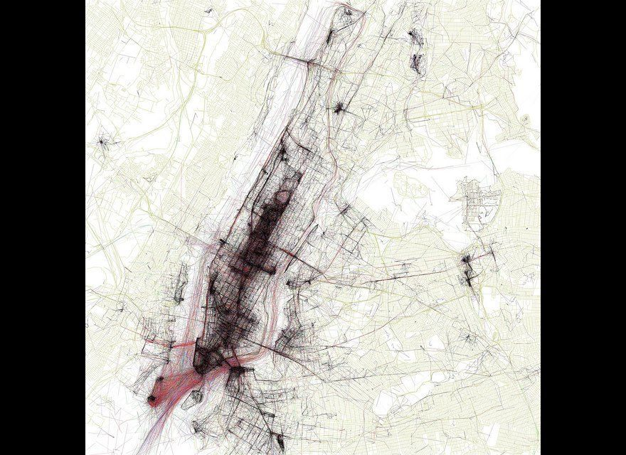 Geotaggers  World Atlas Map #1: New York - Eric Fischer.  Maps the pictures taken in 50 different major cities. The photo loc