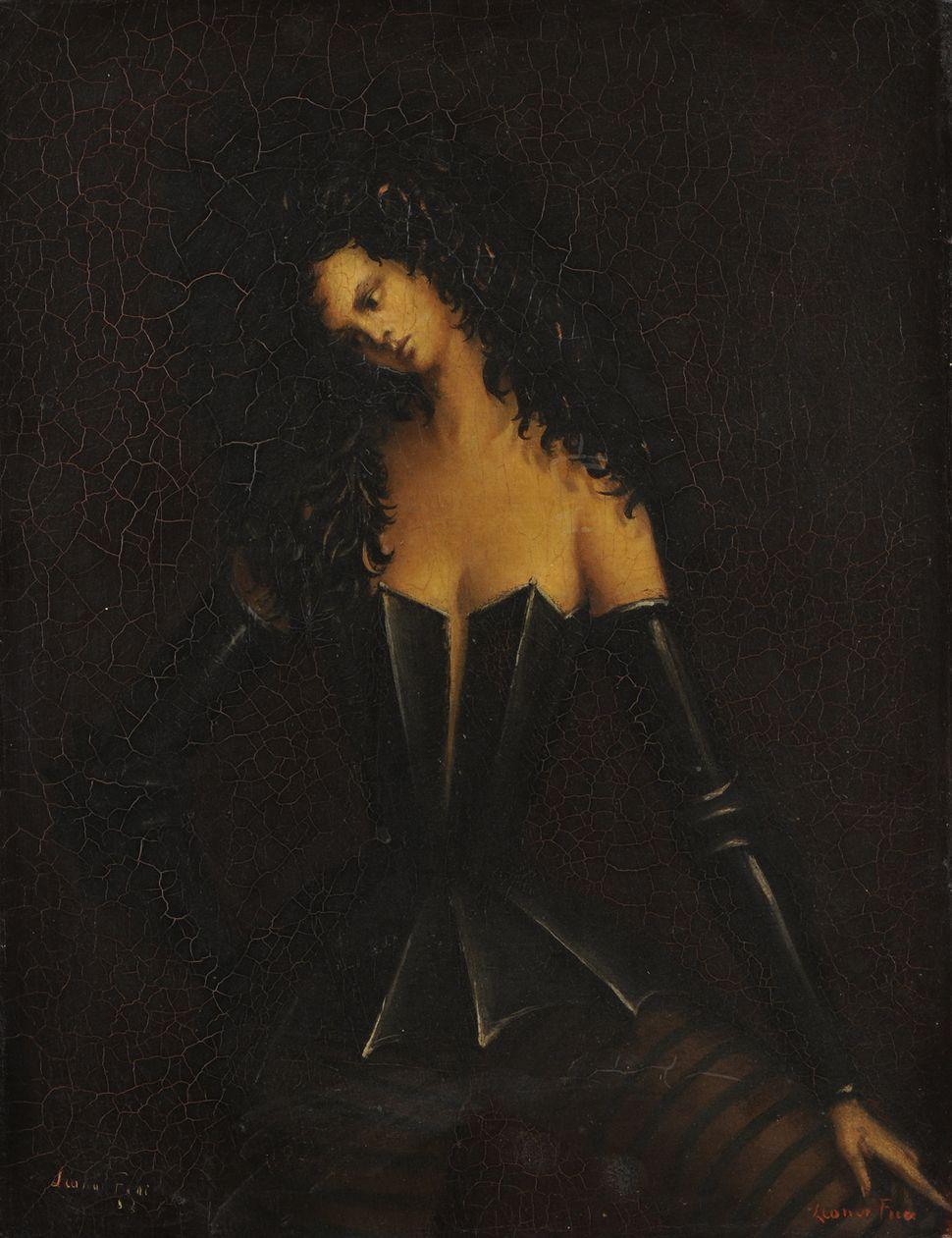 "Leonor Fini's 1938 ""Woman in Armor I (Femme en armure I)."""