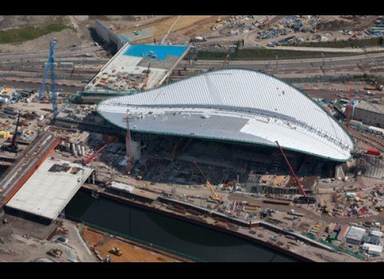 The London Aquatic center by Zaha Hadid is part of the London 2012 Olympics Master Plan. The stadium has an wavy roof that is