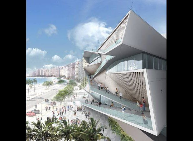 The design, by Diller, Scofidio and Renfro, was inspired by the Copacabana beachfront and promenade. Conceived as a continuou