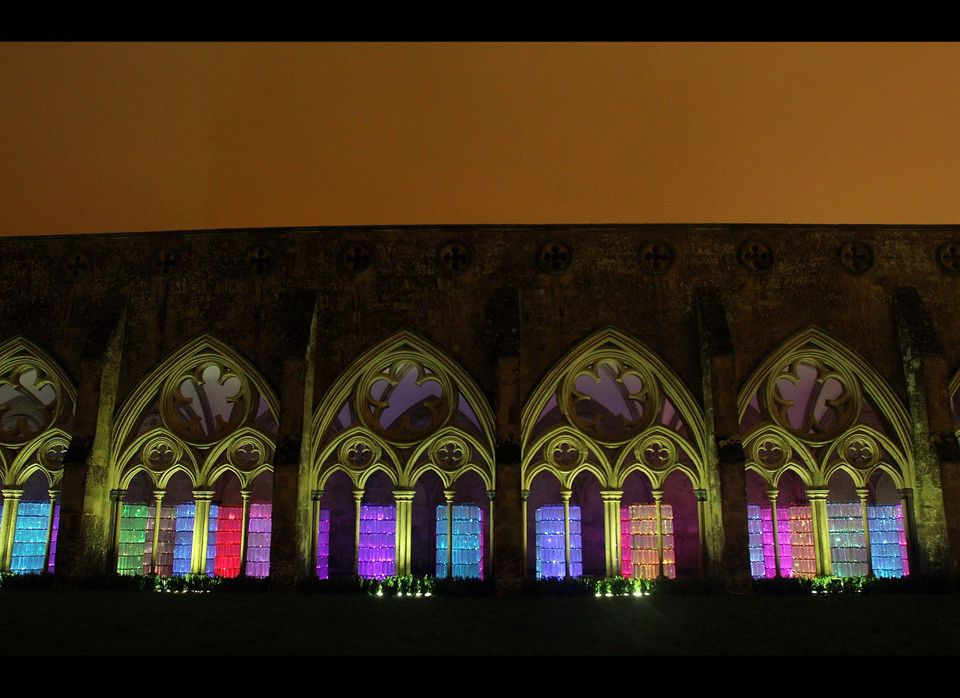 Bruce Munro's Water Towers Light And Sound Installation at Salisbury Cathedral