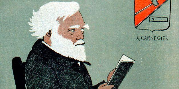 Andrew Carnegie (1835-1918), Scottish-American industrialist and philanthropist. Public Libraries. Cartoon published Paris, 1