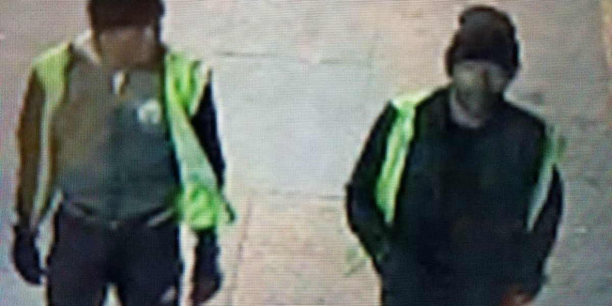 Federal authorities say two unidentified men stole hundreds of guns from a UPS facility.