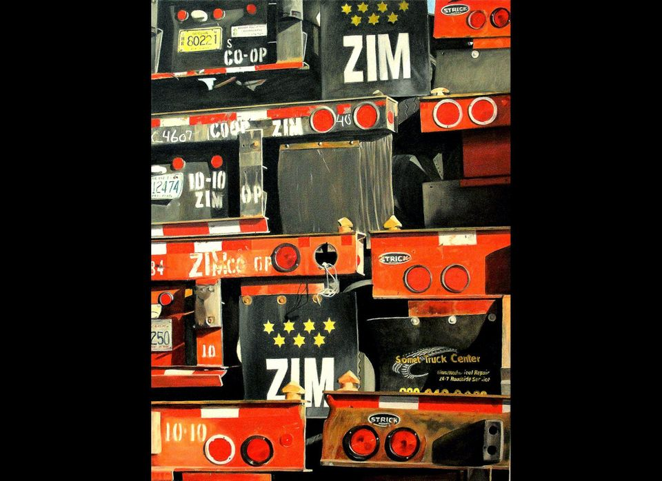 "<em>Zim, </em> 2011   40"" x 30"" Oil on linen Allan Gorman: ""For subject matter, I visit industrial sites - truck stops, stora"