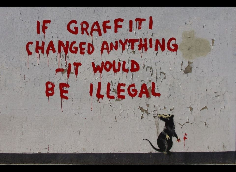 """Thought to be Banksy's latest piece, <a href=""""http://news.fitzrovia.org.uk/2011/04/25/banksy-graffiti-fitzrovia/"""" target=""""_hp"""