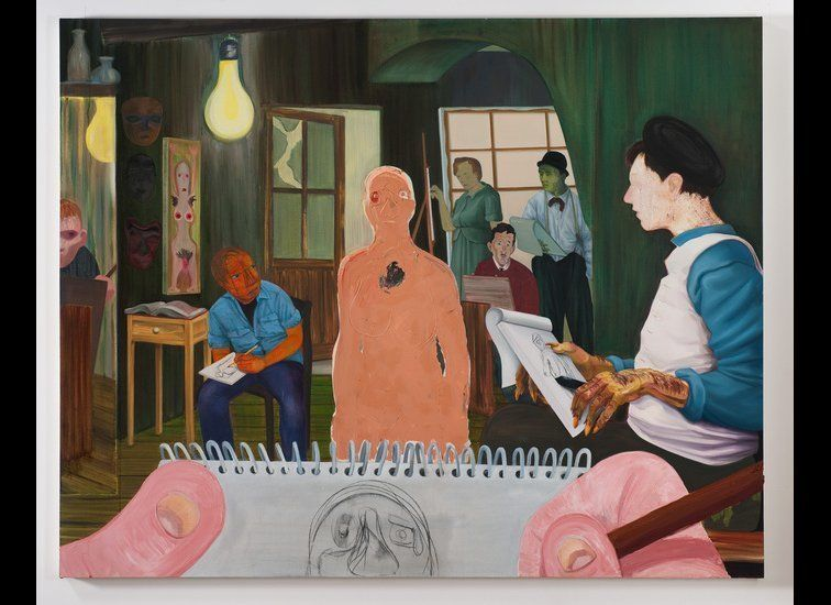 "Nicole Eisenman, <em>The Drawing Class</em>, 2011, Oil and charcoal on canvas. Courtesy of <a href=""http://www.vielmetter.com"