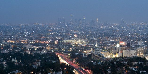 Aerial view of Los Angeles  and Hollywood at dusk.