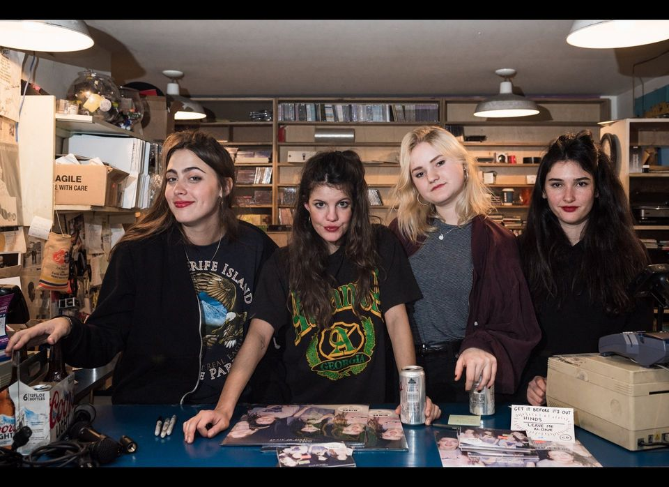 HINDS at Other Music with copies of their debut album, <em>Leave Me Alone</em>