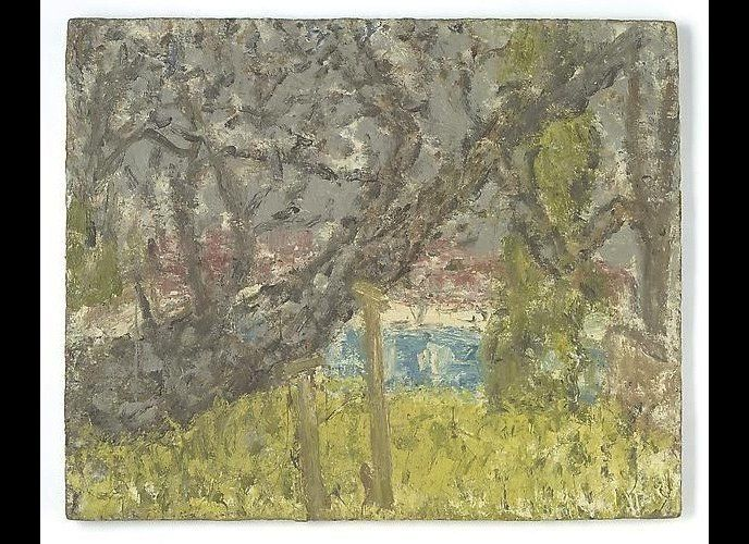 <em>Leon Kossoff, Cherry Tree, with Diesel, 2004-05, Oil on board, 36-1/4 x 44-1/2 inches (source: artcritcal.com -courtesy o