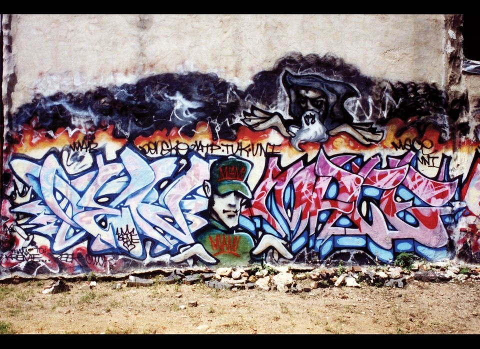 """Roger says """"This wall you can tell has a  serious story to it - layers and layers - and it has a wizzzzzzzzzard!""""  <em>Pho"""