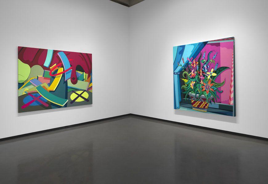 KAWS <em>AHHHHH...</em>, 2011 acrylic on canvas 68 x 86 inches  Erik Parker <em>Brink</em>, 2010 acrylic on canvas 80