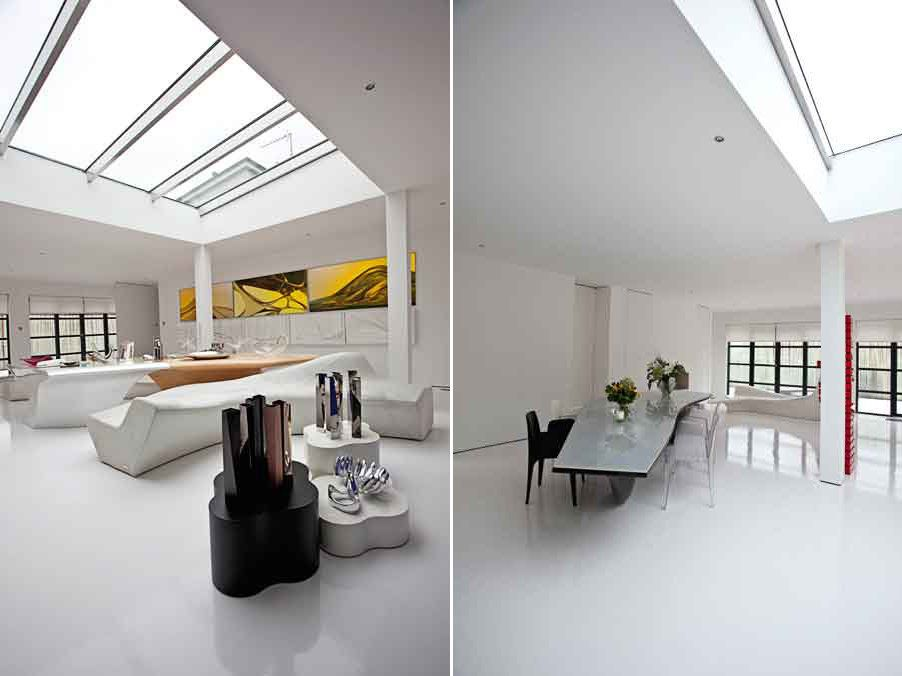 Hadid's own flat is more of a showroom of some of her iconic art and design pieces rather than a cozy personal home. Almost e
