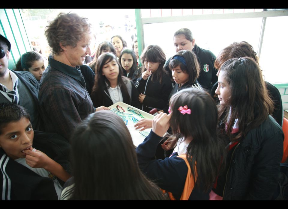 Yves Behar brings See Better to Learn Better frames to school children in Mexico. Photo courtesy of fuseproject.