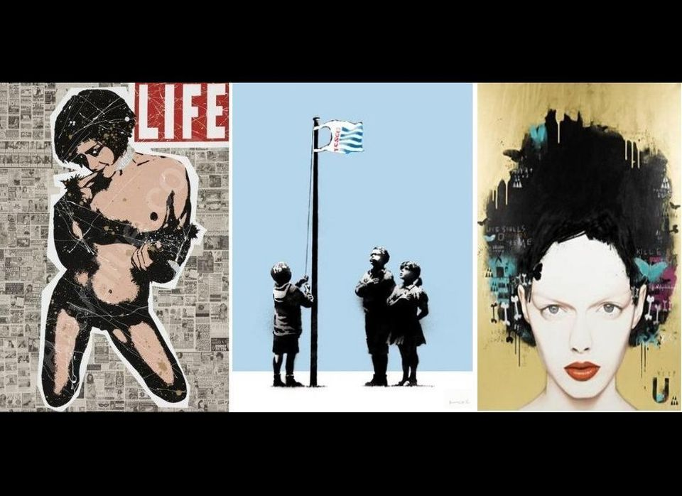 from Left to Right: Life Aint Black and White by Goldie; Very Little Helps by Banksy; Teenage Phantasm by Cyclops