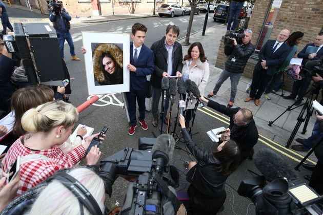 Nadim and Tanya Ednan-Laperouse, with their son Alex, speaking to the press outside West London Coroners Court on Friday.