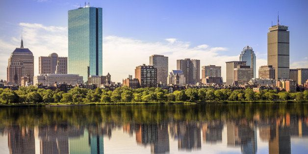 Panoramic view of Boston in Massachusetts, USA showing its mix of modern and historic buildings by the Charles River.