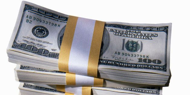 Stack of US Dollar Bills, close-up