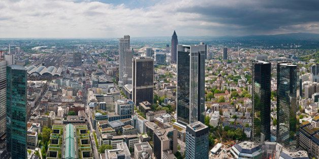 Panoramic vista across the skyscrapers, towers and landmarks of central Frankfurt's Bankenviertel financial district, from th