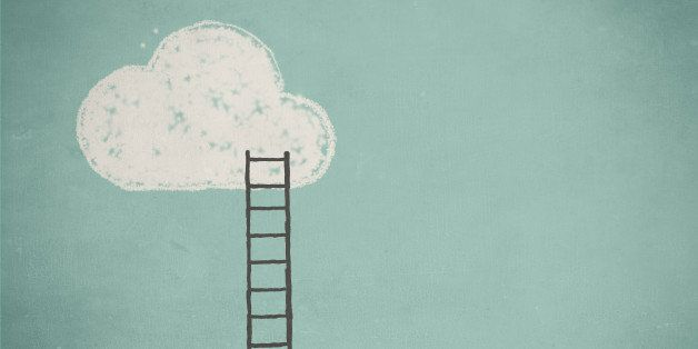 Simple drawing of a cloud and a ladder against  a turquoise sky.