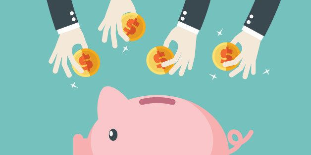 Many hands putting coin into a piggy bank. Saving and investing money concept