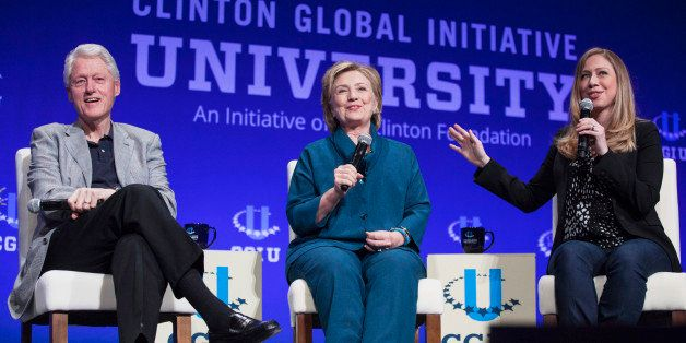 From L-R: Former U.S. President Bill Clinton, Former Secretary of State Hillary Clinton, and Vice Chair of the Clinton Founda
