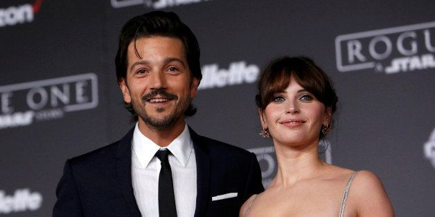 "Actors Diego Luna and Felicity Jones pose as they arrive at the world premiere of the film ""Rogue One: A Star Wars Story"" in"