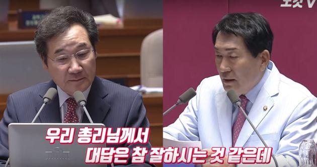 이낙연 총리가 자유한국당 안상수 의원의 저돌적 대정부질문에 3회 연속 카운터 블로를