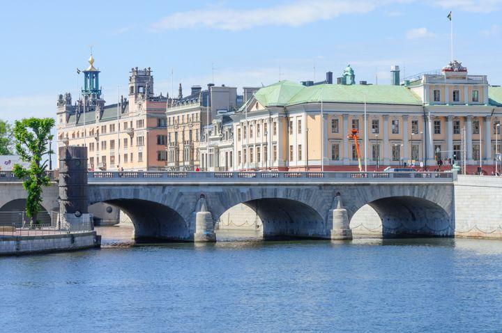 bridge in downtown stockholm ...