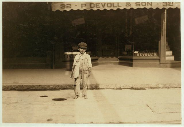 Fernance Silvia, 7 year old newsie, used to sell papers until 8 p.m. some nights.  New Bedford, August 22, 1911.
