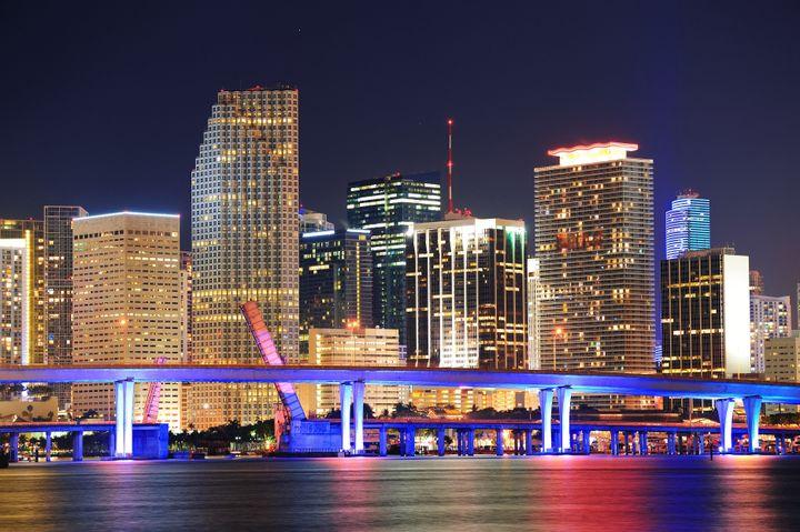 miami city skyline closeup at...