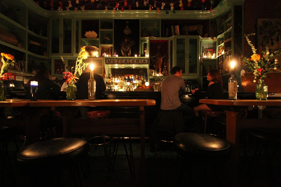 A few customers, mostly Lower East Side residents, took refuge from the power outage in the bar at Casa Mezcal on Orchard Str