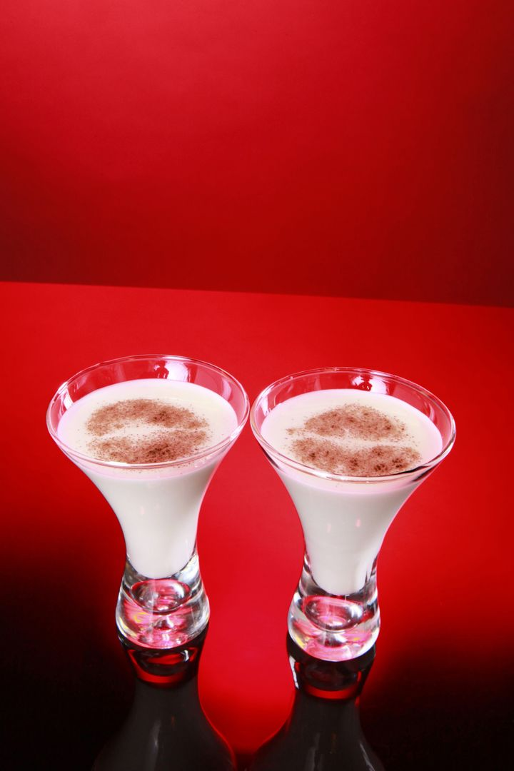 two glasses of holiday egg nog...