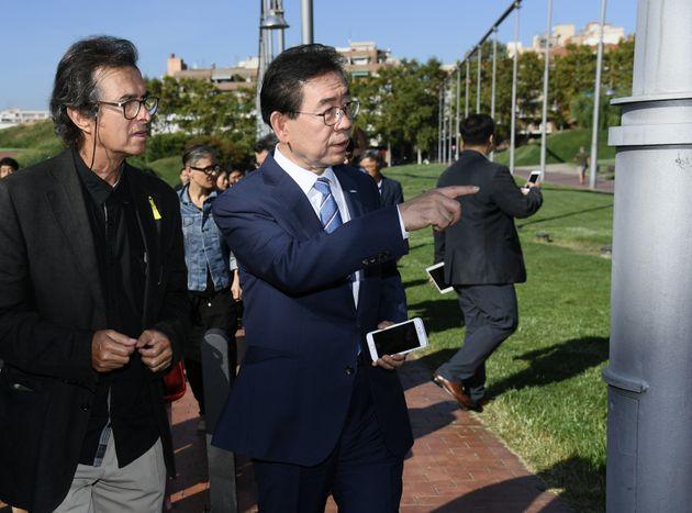 박원순 서울시장이 9월28일(현지시각) 바르셀로나 파르크 데 라 솔리다리탓(Parc de la Solidaritat) 공원을 찾아 시설을 둘러보고