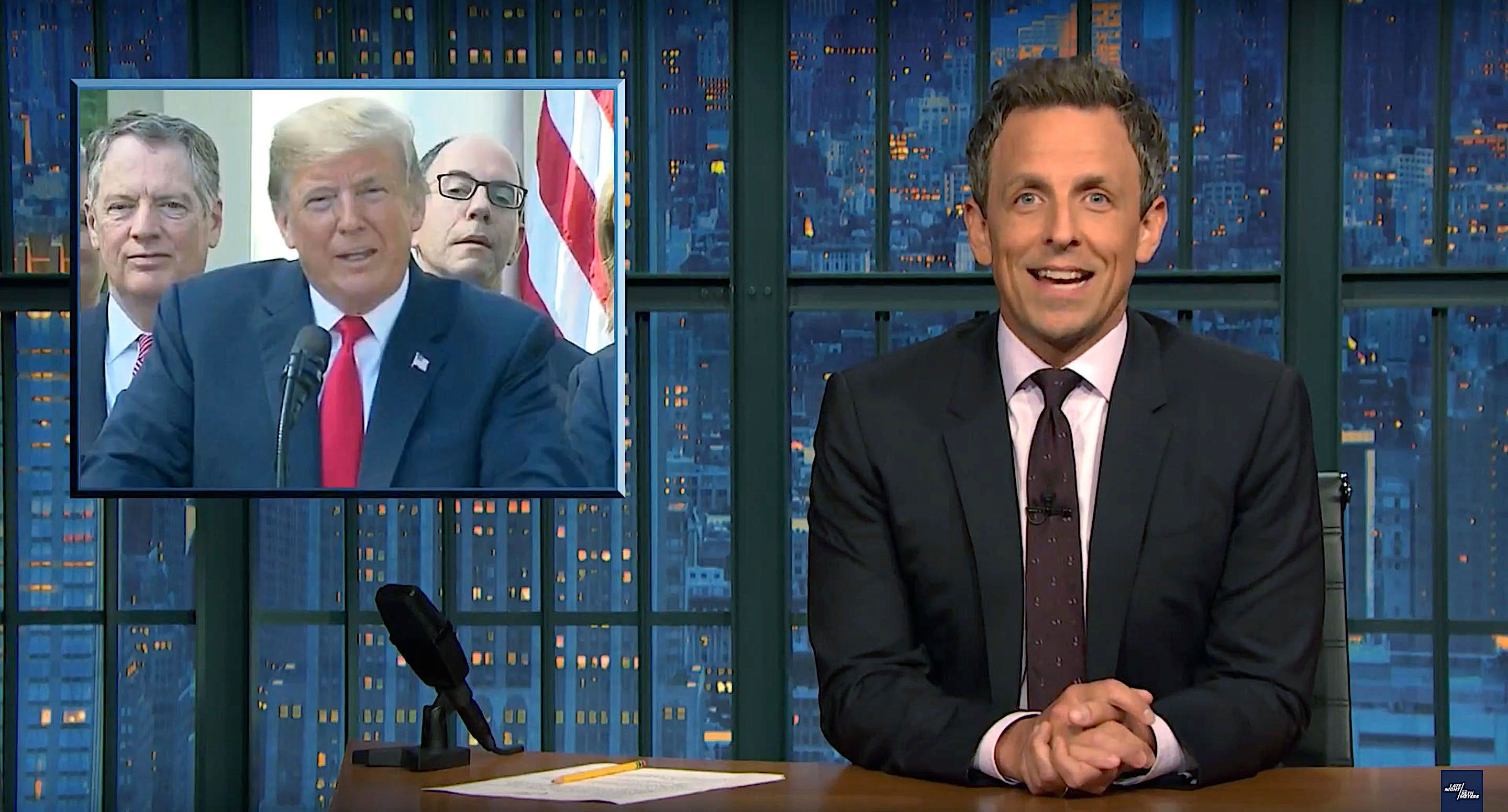 Seth Meyers of Late Night weighs in on President Donald Trumps news conference on the trade agreement