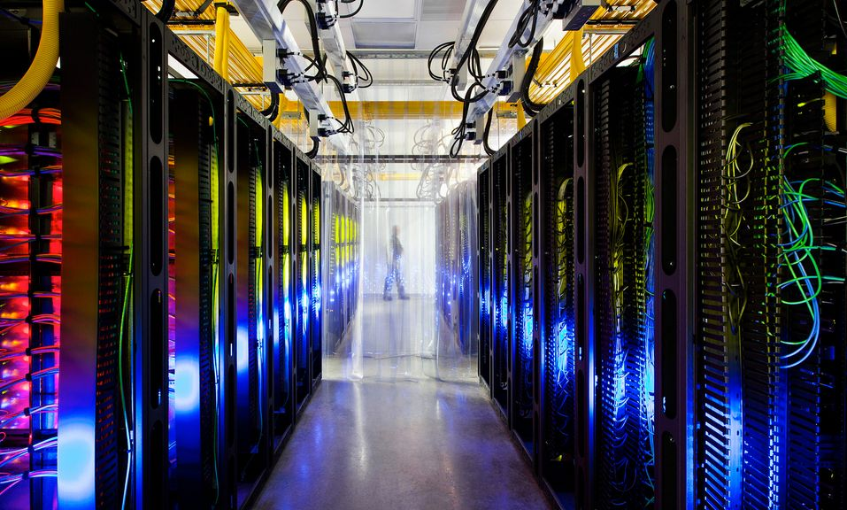 """From Google: """"Inside our campus network room, routers and switches allow our data centers to talk to each other. The fiber op"""
