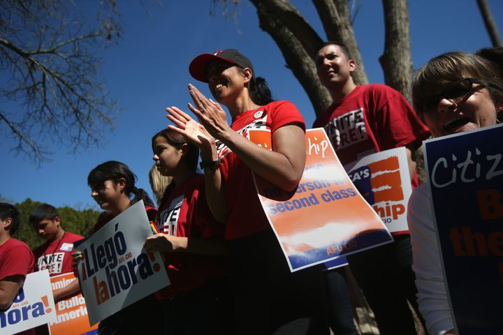 PHOENIX, AZ - MARCH 11:  Arizona union supporters gather in support of national immigration reform outside the Arizona State