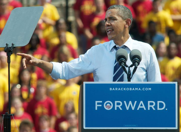 AMES, IA -  AUGUST 28:  U.S. President Barrack Obama speaks during a campaign event at Iowa State University on August 28, 20