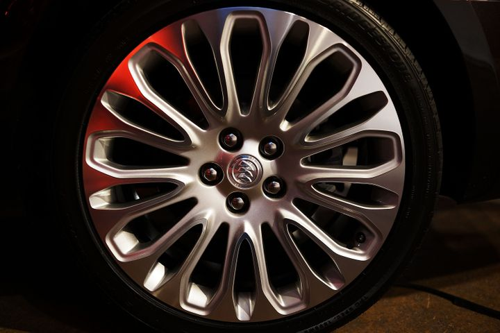 NEW YORK, NY - MARCH 26:  A wheel on the new 2014 Buick LaCrosse is displayed at a launch party for new versions of General M