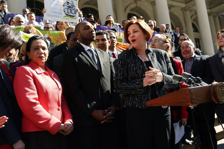 NEW YORK, NY - MARCH 29:  New York City Council Speaker Christine Quinn (4th R) speaks at a rally in front of City Hall to sh