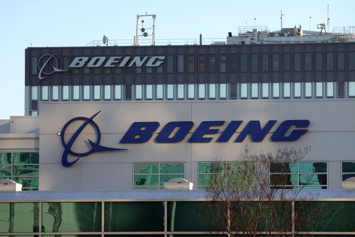 LOS ANGELES, CA - JANUARY 17:  As Boeing 787 Dreamliner jets remain grounded, signage is seen on a Boeing building near Los A