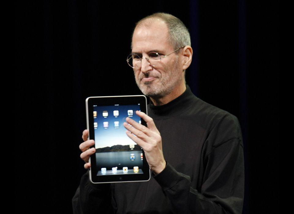 A Steve Jobs-themed gift set: A St. Croix black mock turtleneck ($185), a pair of dark stonewash Levi's 501 jeans ($48), a pa