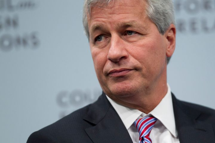 Jamie Dimon, chief executive officer of JPMorgan Chase & Co., waits to speak at the Council on Foreign Relations in Washingto