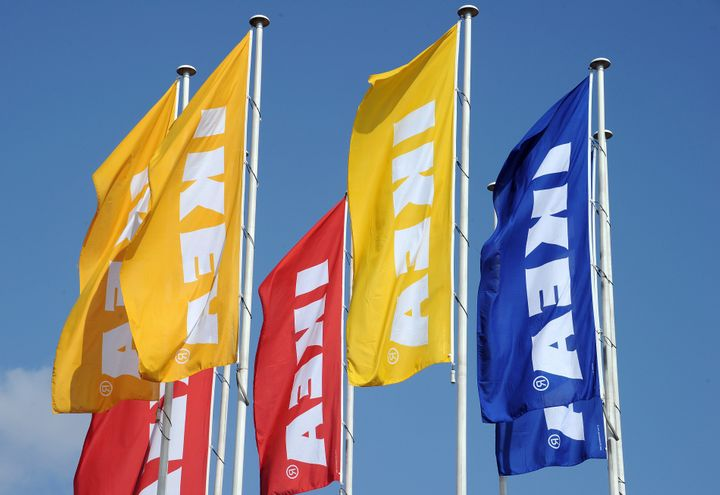 A picture taken on March 27, 2013 shows flags bearing the name of Swedish furniture giant Ikea at the Odysseum shopping mall,
