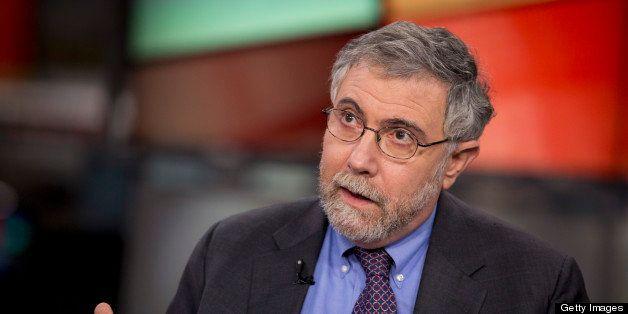 Nobel Prize-winning Economist Paul Krugman, professor of international trade and economics at Princeton University, speaks du