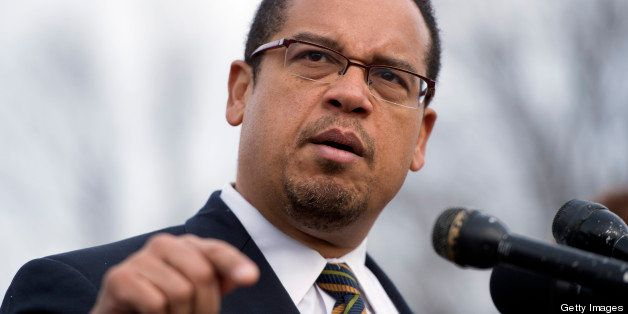 UNITED STATES - DECEMBER 20:  Rep. Keith Ellison, D-Minn., speaks at a news conference at the House Triangle with faith leade