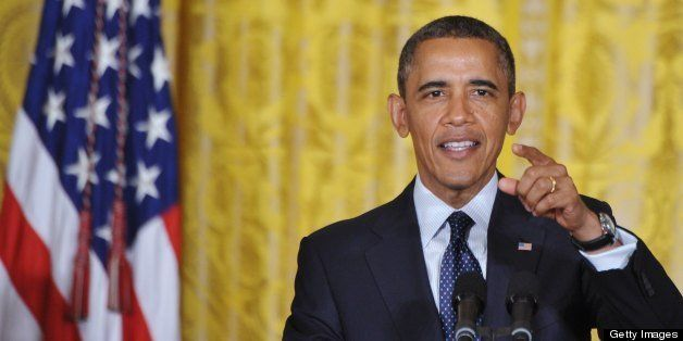 US President Barack Obama speaks during the White House science fair on April 23, 2013 in the East Room of the White House in