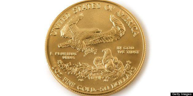 One US dollar coin, close-up