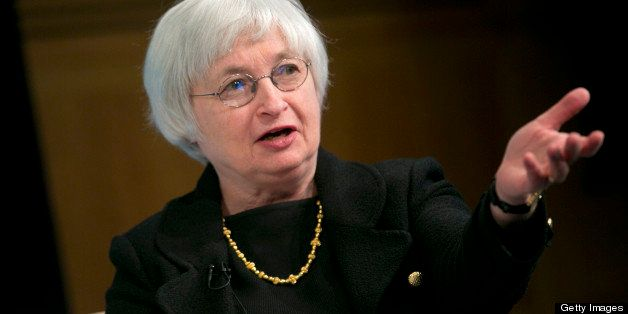 Janet Yellen, vice chairman of the U.S. Federal Reserve, speaks at a macro policy discussion during the International Monetar