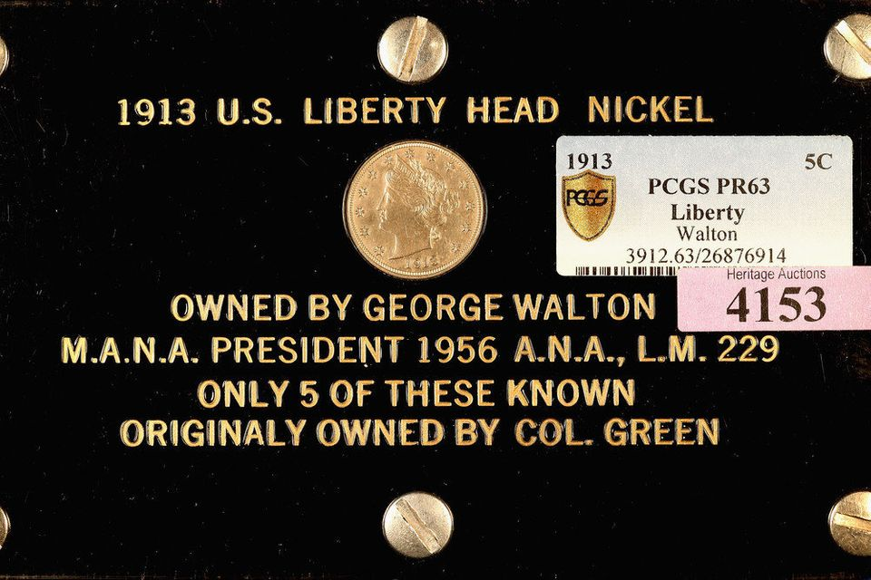 APRIL 25: The George O. Walton Specimen 1913 Liberty Head Nickel is offered for auction by Heritage Auctions on April 25, 201